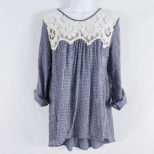 Tassels N Lace Top Gingham Check Lace Shoulder